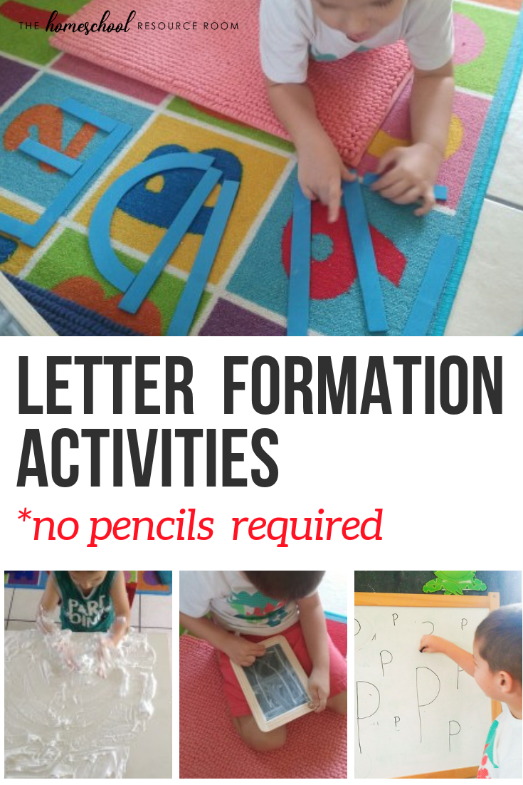 7 FUN Letter Formation Activities - No pencil required! Work on fine and gross motor skills through engaging, hands-on letter formation practice.