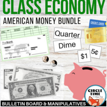 Money manipulatives for class economy or homeschool! Realistic looking bills, coins, and checks. Plus a bulletin board display kit that you can use for more hands on games, practice, or display! #teachingmoney #elementary #manipulatives #handson