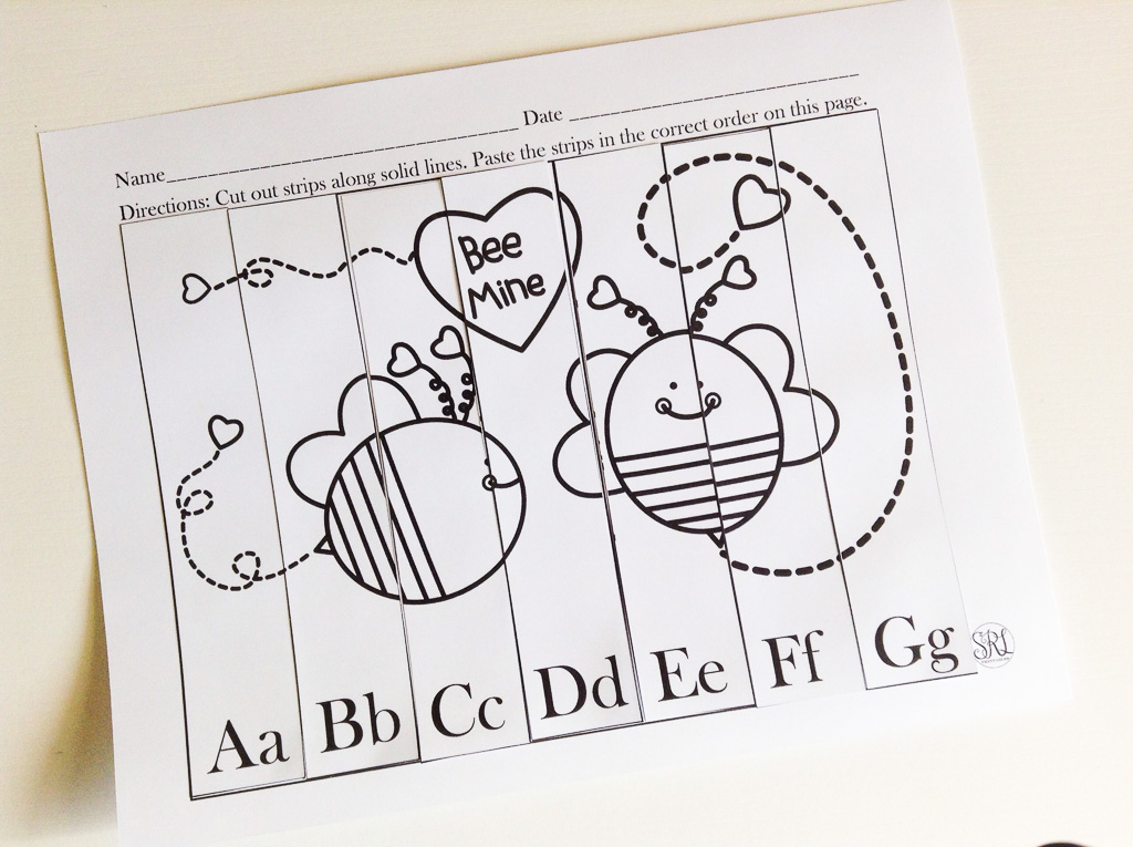Valentine's Day Free Printable Preschool ABC Puzzle!