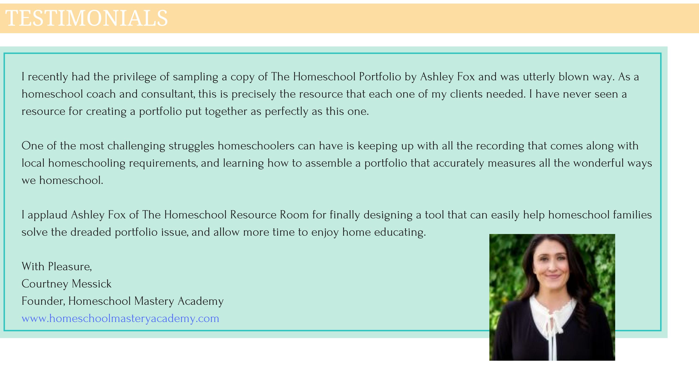 Homeschool Portfolio review from Courtney at Homeschool Mastery Academy
