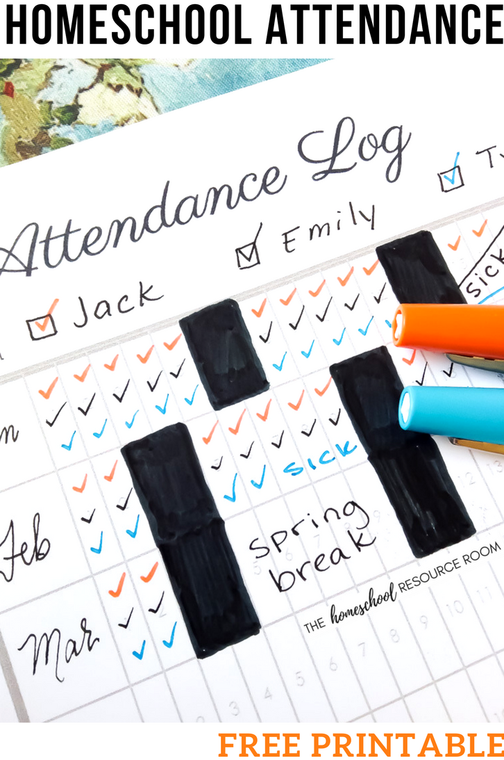 The Easy Solution For Homeschool Attendance Records Free Tracker The Homeschool Resource Room