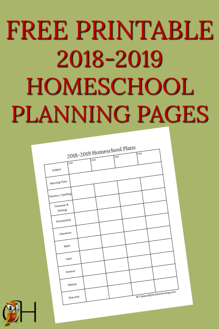 Free Homeschool Planner The Homeschool Resource Room