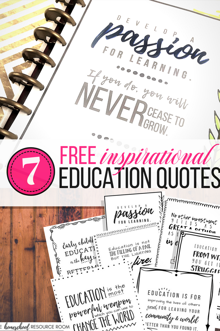 7 Free Printable Education Quotes for a little back to school inspiration! Gray scale, doodle style printables are great for binder covers, 8x10 frames, or use to create your own planner inserts or dashboards!