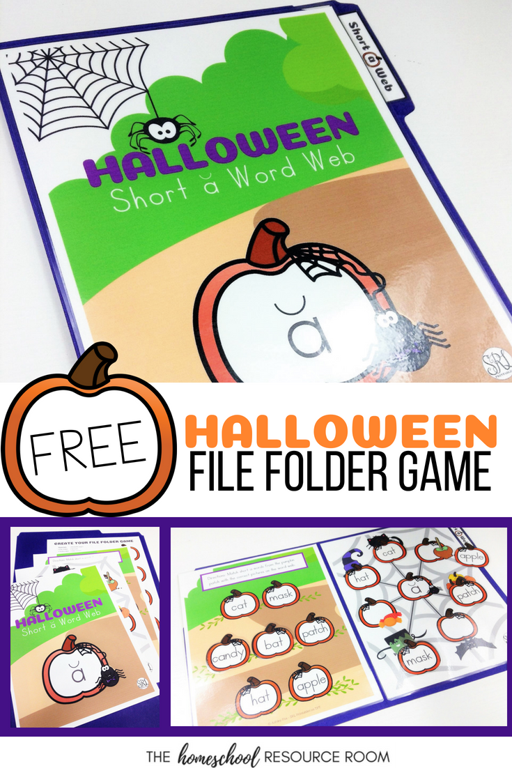 Free File Folder Game for Halloween! Kindergarten - 2nd grade practice short a words with this Halloween themed matching game!