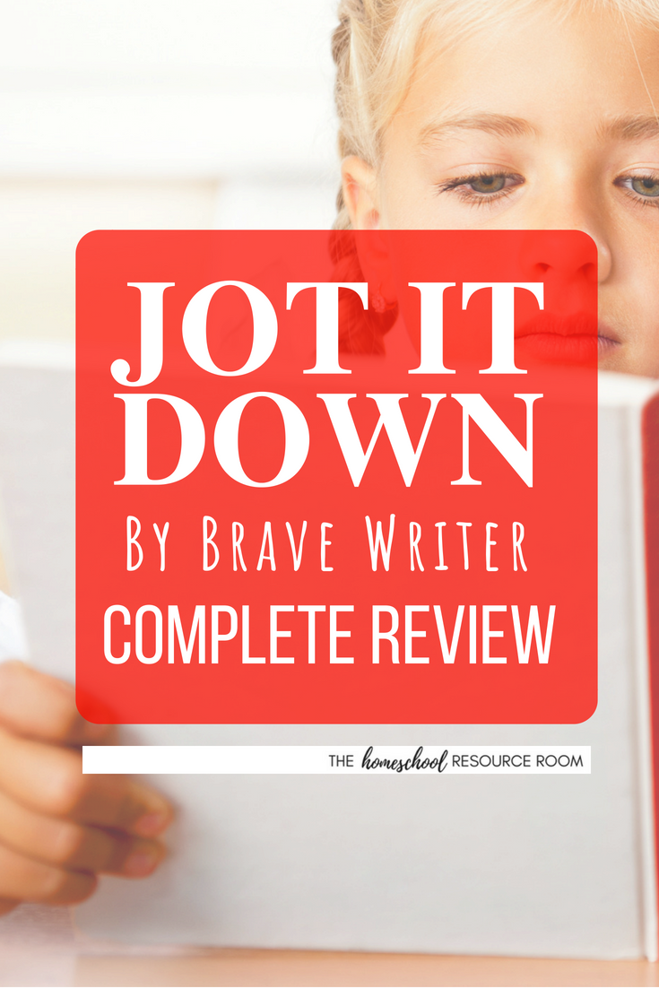 Jot It Down Review: a full review of Brave Writer's Jot It Down writing guide for children ages 5-8. See the benefits for homeschoolers, what's included in the curriculum, and download a free sample to try!