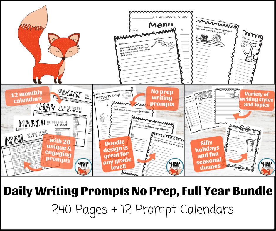 No-prep daily writing prompt bundle! 240 fun and engaging elementary writing prompts, great for morning work, daily writing practice, and centers!