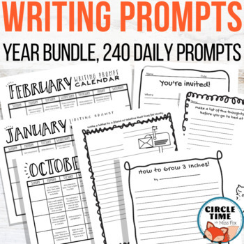 Done for you solution to improving writing! Daily writing prompt bundle including 240 engaging and FUN daily writing prompts for elementary - middle school students.