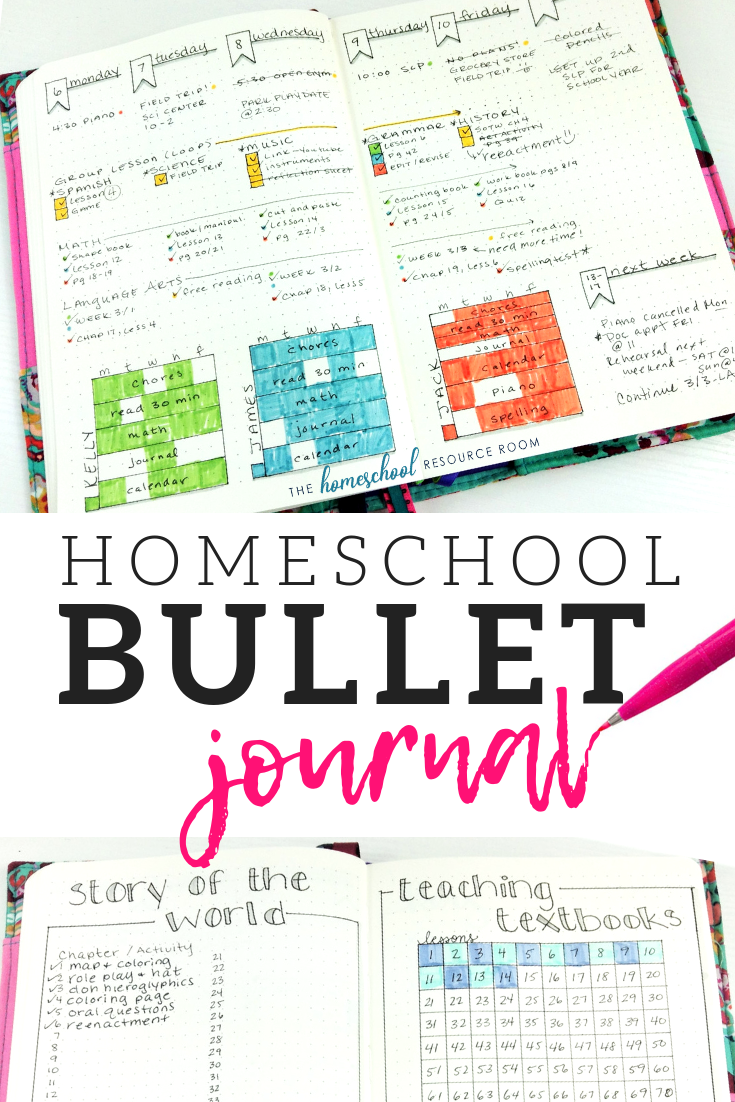 Layouts and ideas for your homeschool bullet journal - including homeschool attendance trackers, curriculum checklists, key and color coding, and planning layouts!