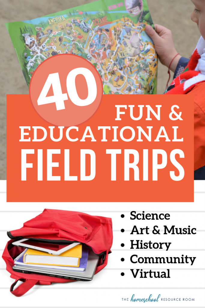 40 Fun and Educational Field Trips. Check out these fantastic field trips ordered by category: Science field trips, History field trips, Art and Music field trips, Field trips for every community, and virtual field trip resources! #education #fieldtrips #elementary