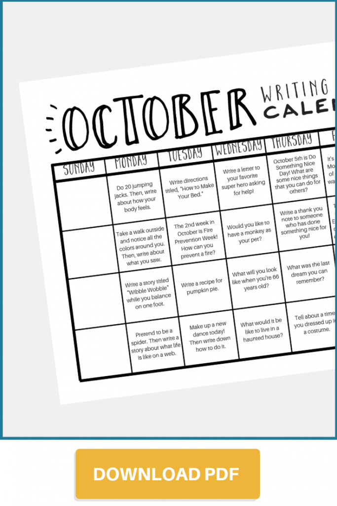 Writing Prompt Calendar