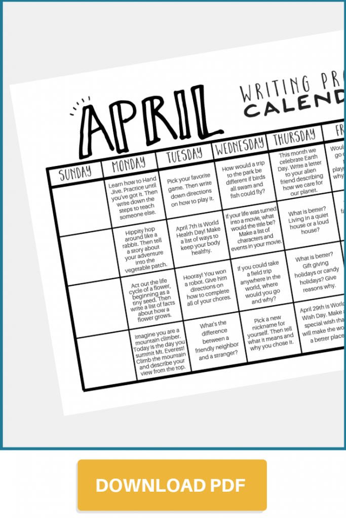 Download April writing prompt calendar