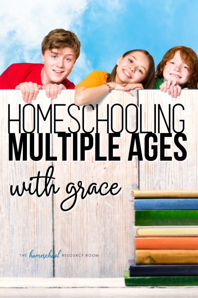 Homeschooling multiple ages with grace! Take a look at how this homeschool mom of three juggles teaching kids of different ages with different curriculum and styles! #homeschool #homeschoolmethods