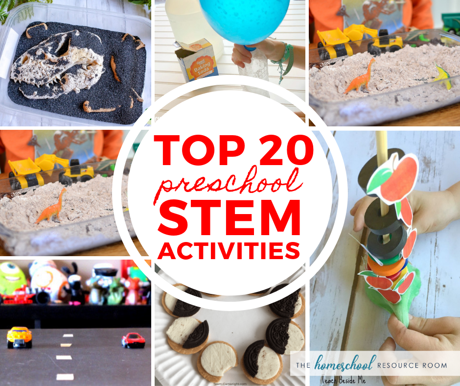 TOP 20 Preschool STEM Activities that your little one won't want to miss! Hands-on science experiments, preschool math and coding! #preschool #stem