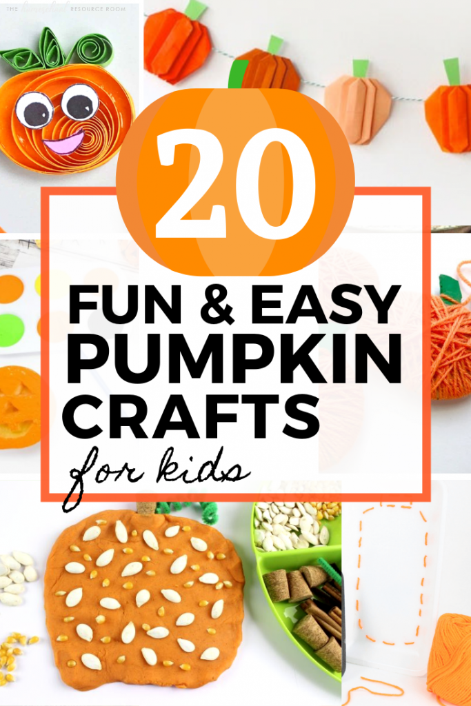 20 fun and EASY pumpkin crafts for kids. This great list includes a variety of open-ended play opportunities as well as crafty decorations that will keep little fingers busy all through the fall! Click through for 20 great ideas! #fallcrafts #craftingwithkids #learningthroughplay