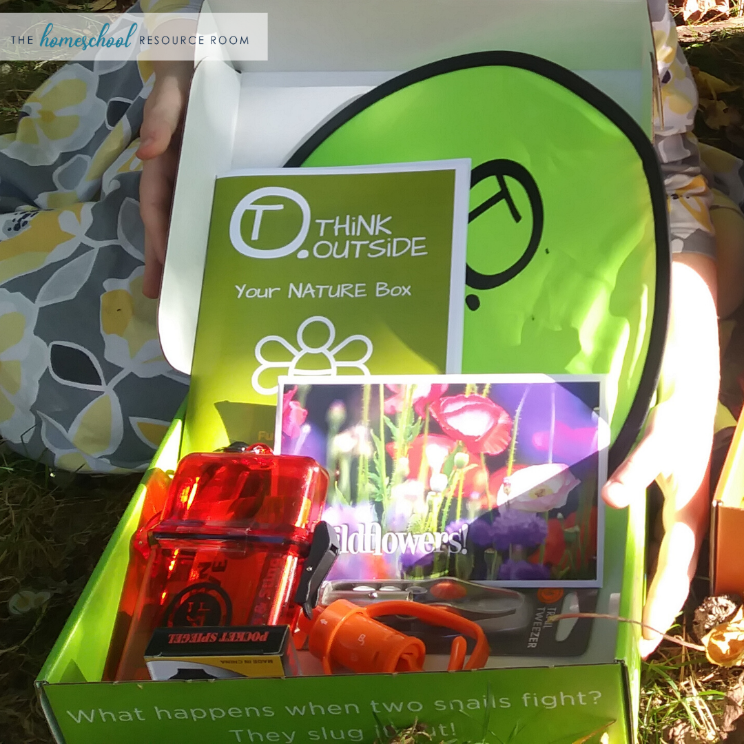 What's inside the Think Outside Boxes outdoor adventure box for kids? Read the full review. #thegreatoudoors #outdoorclassroom #thinkoutsideboxes
