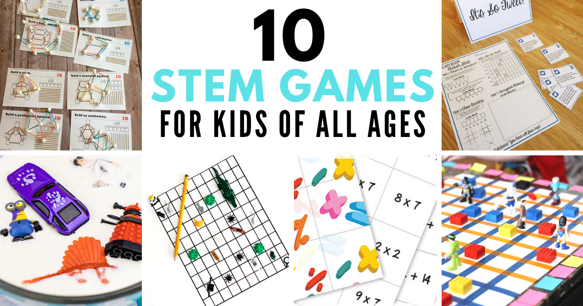 10 fun STEM games for kids of all ages! Engaging, educational games that make learning FUN! #stem #stemeducation #games #gamification