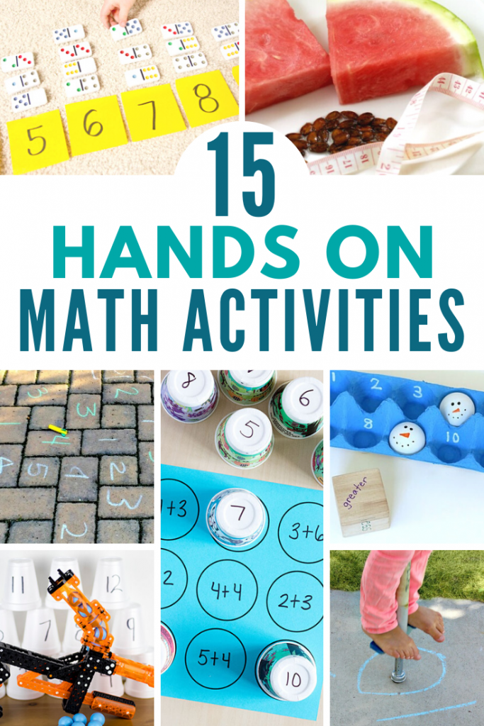 15 hands-on, fun math activities that will get your kids excited about learning math! Find games, projects, and ideas for your elementary math lessons. #math #stem #stemeducation #handsonlearning