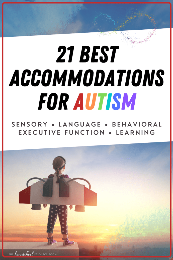 21 best accommodations for autism. Sensory, behavioral, emotional, executive functioning, language, and learning accommodations for home and school.